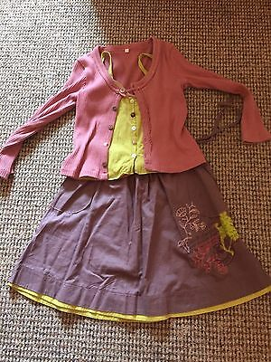 Captain Tortue Skirt Top Cardigan Outfit Set Mauve Lime Green Dusky Pink Age 6 7