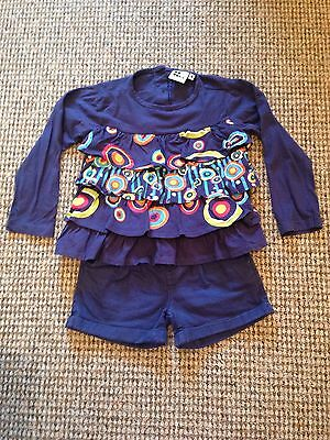 Designer U2 BS Barcelona Royal Blue Multi Print Outfit Shorts And Top Age 4