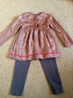 Autograph M & S tan bronze taupe red star tunic leggings set age 4 - 5 worn once