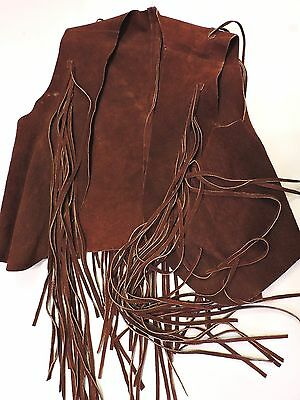 Vintage 70's Brown Suede Leather Vest with Tassels (pre-owned)