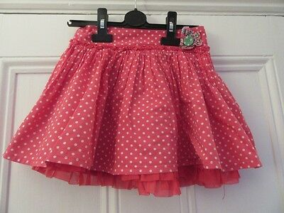 5-6 yrs: Pretty cotton summer skirt  - Red + white spots - Lined - Mothercare