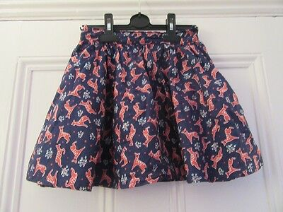 6-7 yrs: Pretty summer skirt  - Blue + red deer - Cotton/Lined - Crew Clothing