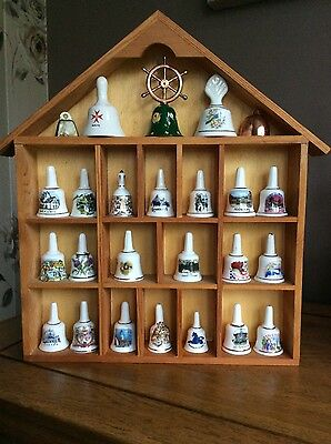 25 China Bells and Wooden Display Case