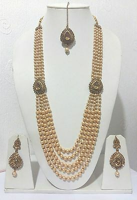 New Indian Bollywood Costume Jewellery Necklace Set Gold Bronze Pearl Wedding
