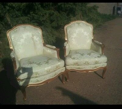 pair french louis arm chairs