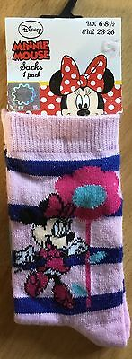 little girls Minnie Mouse socks 6-8.5 free postage, great stocking filler