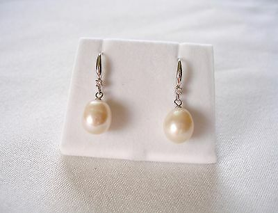 9 mm Pearl Solitaire & Diamond  18 White Gold Dangle Earrings