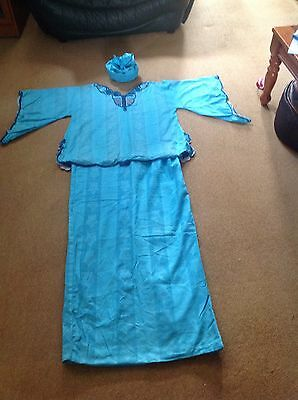 Traditional African Ladies Outfit, 3 Piece ( Top, Skirt & Head Scalf) Royal Blue