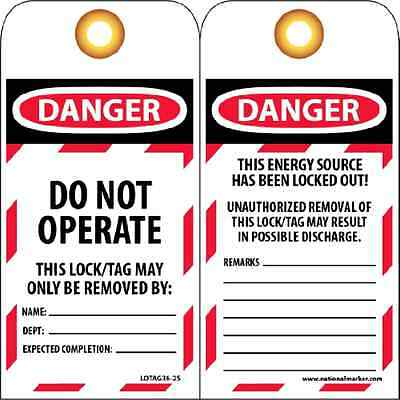 """NMC LOTAG36-25 Lockout Tag, """"DANGER - DO NOT OPERATE,"""" 6"""" Height x 3"""" Width, Unr"""