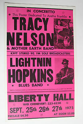 Blues Lightnin' Hopkins Tracy Liberty Hall Theatre Concert Poster 1975