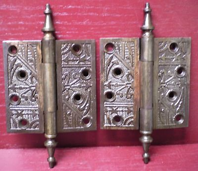 "2 Antique Fancy Steeple Top Cast Iron 4"" X 4"" Door Hinges #7"