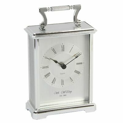 Traditional Silver Carriage Mantel Table Clock 18x10cm