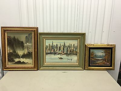 Lot of 3 Vtg Home Galleries Certified Oil Painting On Canvas Signed by Artists