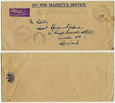 SEYCHELLES OHMS OFFICIAL PAID AIRMAIL HS to GB 1960s GOVERNMENT TOURIST DEPT