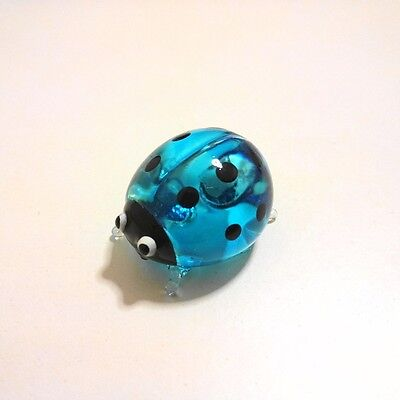 Blue Ladybug Figurine Animal Hand Paint Blown Glass Decorate Collectible Gift