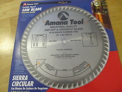 Amana Tool 610600 Cut-Off and Crosscut 10-Inch x 60 Tooth ATB 5/8-Inch Bore Saw