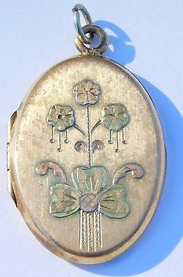Antique Victorian 3 Colored Gold Filled Flower Bo Clover Locket Pendant