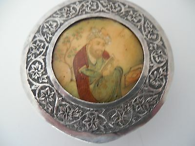 Antique Persian hand tooled compact with hand painted insert