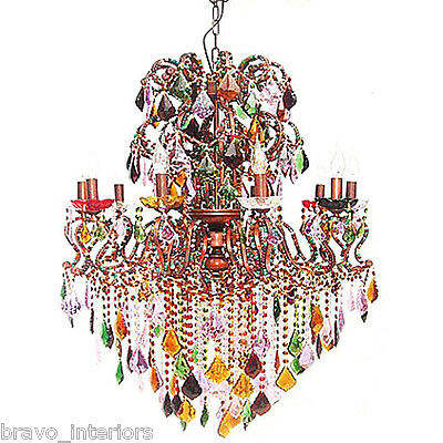 Chandelier French Mardi Gras New Orleans Light Crystal Cabachon Crystal New NEW