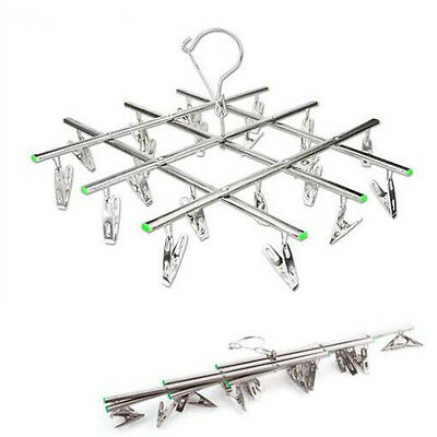 20 Clips Stainless Steel Socks Clothes Pegs Hanging Pins Laundry Windproof Clamp