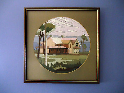Lovely Vintage Completed Longstitch Picture *Country Homestead *Framed