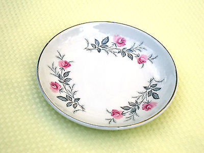 Pretty Vintage England Small Jam Butter Pin Trinket Dish *Petite Pink Roses