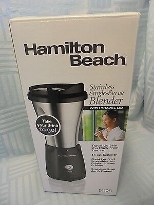 Hamilton Beach 51108 Stainless Single Serve Blender With Travel Lid W1