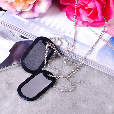 2x Military Army Blank Pendant Dog Tag Pet Puppy Cat ID w/ Stainless Steel Chain
