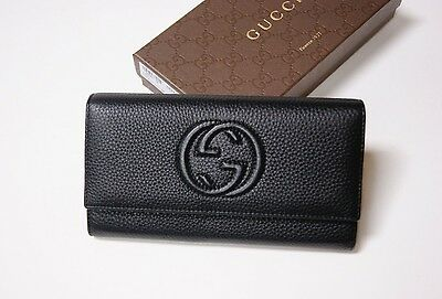New Women's GUCCI Soho Black Leather Continental Authentic Wallet