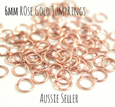180pcs 6mm Rose Gold open Jumprings findings jewellery DIY Jump rings components