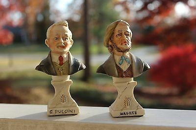 Composer Wagner and Puccini Small Porcelian Busts Made In Italy