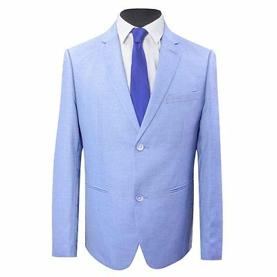 New Mens Light Blue Slim Fit Suit Jacket And Trousers