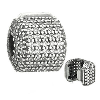 PAVE BARREL Clip 925 Solid Sterling Silver Sparkling Clear Pave Charm Bead