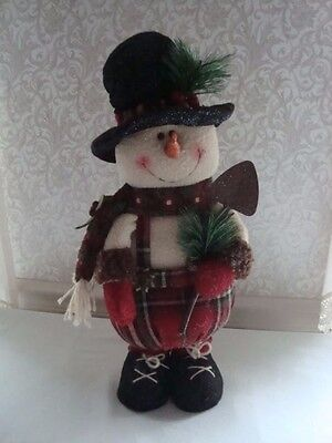 "Christmas Snowman Stuffed Soft Stand Alone 17"" Attention to Details Adorable"