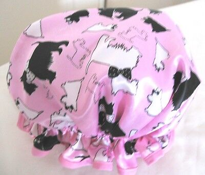 Shower Cap Hat   Handmade, Waterproof Pink With Black And White Scottie Dogs