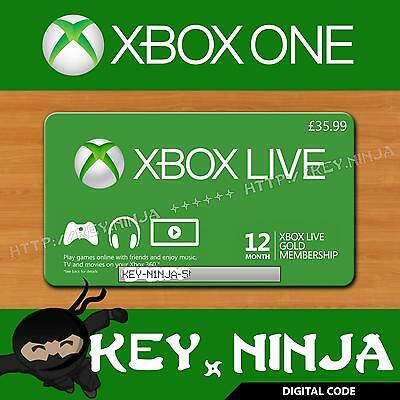 Xbox Live 12 Month Gold Membership/Subscription Card Key Code Microsoft 360 One