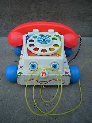 Vintage Fisher Price Telephone Pull String Toy Chatter Phone 1961