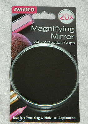 New SWISSCO Brand 20X Magnifying Mirror with Suction Cups!
