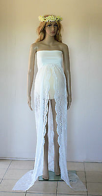 Ivory Strapless Lace Maternity Dress Gown - Photography Photo Prop Size 8-12