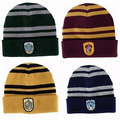 Harry Potter Winter Wooly Beanie Hat Hogwarts Gryffindor Slytherin Hufflepuff