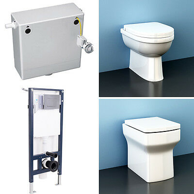 Back To Wall Toilet Ceramic Pan Soft Close Seat Concealed Cistern Wall Hung