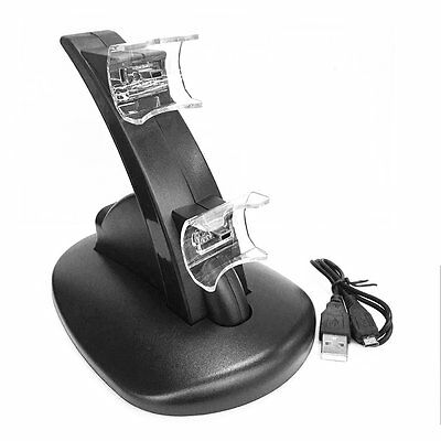 Black LED Light Quick Dual USB Charging Dock Stand Charger For PlayStation 3 OK