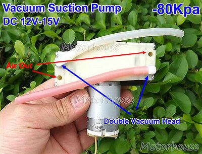 Micro Vacuum Suction Diaphragm Pump +Silicone Tube DC12V-15V Double Vacuu Headed