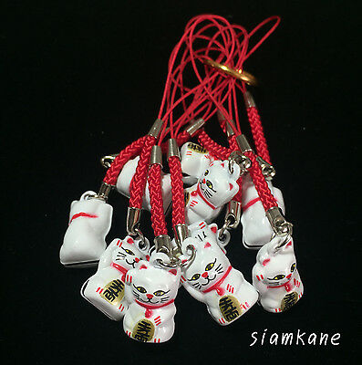 Lucky Cat Maneki Neko Japanese Bell 2.3 cm. White 10 PCS.
