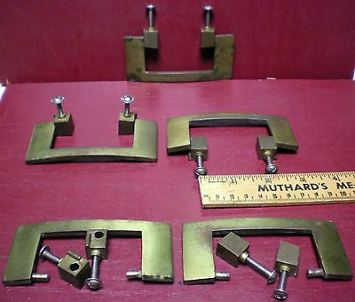 5 Mid-Century Brass Chest Cabinet Drawer Handles