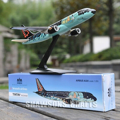 Plane Model 1:200 Aircraft Airbus A320 Tintin Rackham Brussels Airliner Replica