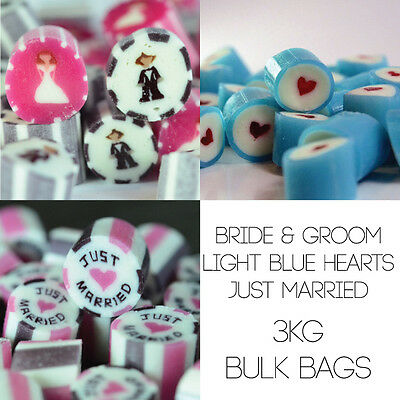 3kg Wedding Candy Mix - Groom & Brides, Just Married & Blue hearts wedding candy