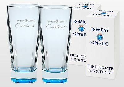 Bombay Sapphire Collins Gin Glasses X 2 New & Gift Boxed