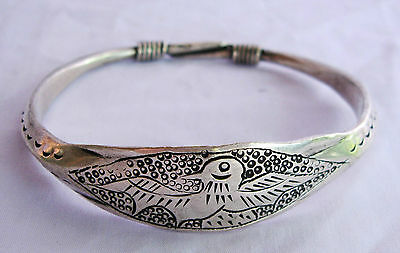 Old Hmong Hill Tribe Unisex Silver Bracelet Bird Design