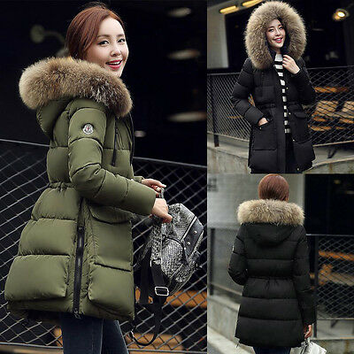 UK Womens Winter Warm Quilted Jacket Faux Fur Hooded Parka Outerwear Long Coat
